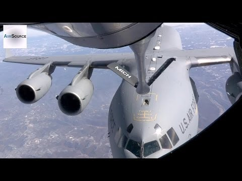 Gas Station In The Sky: KC-135, C-17 Aerial Refueling Mission