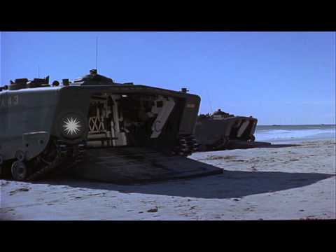 Marines disembark in full battle gear from LVPT-5 at beach in Beirut, Lebanon, du...HD Stock Footage