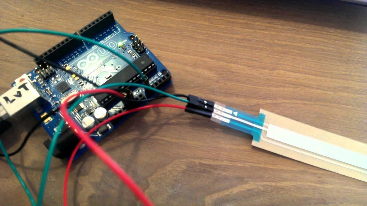 Softpot potentiometer aansluiten op Arduino - YouTube