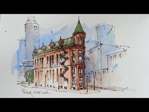 Line and Wash Watercolor Demonstration. Flatiron Building. Just 3 colors. Peter Sheeler