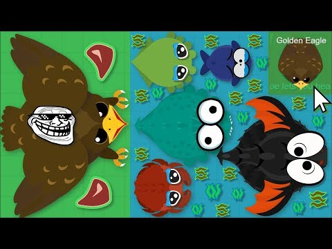 Mope.io GOLDEN EAGLE TROLLS ALL OCEAN ANIMALS! GOLDEN EAGLE FUNNY TROLLS IN MOPE.IO