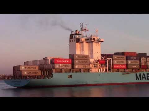 Container Ship MAERSK PENANG Departing Port of Halifax, NS, Canada