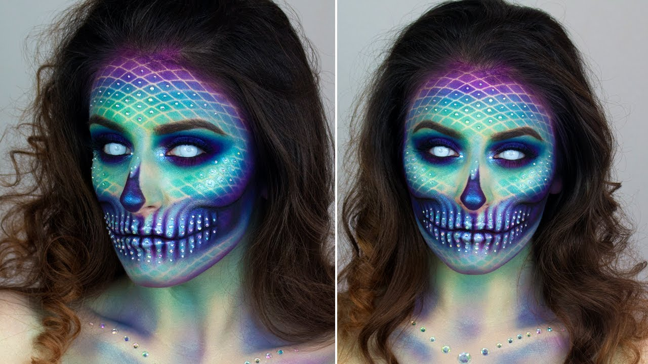 mermaid skull halloween make up tutorial