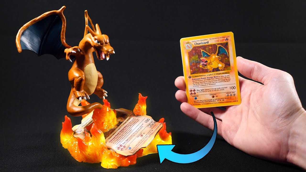 I turned a CHARIZARD card into an AWESOME SCULPTURE / Pokémon / Clay
