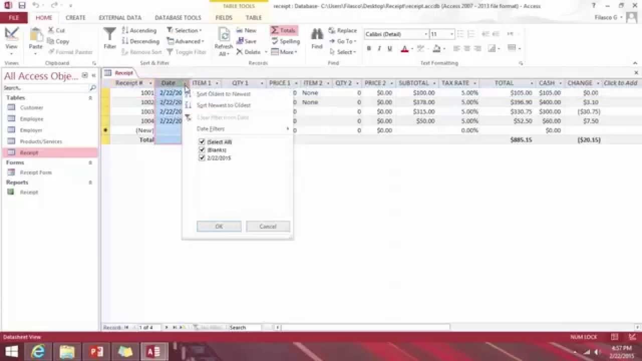 How To Create Business Point Of Sale POS Receipts Database Using - Microsoft access invoice database template free for service business