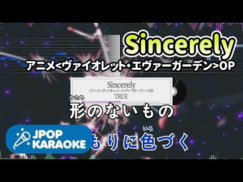 [歌詞・音程バーカラオケ/練習用] TRUE - Sincerely (アニメ『ヴァイオレット・エヴァーガーデン』OP) 【原曲キー】 ♪ J-POP Karaoke