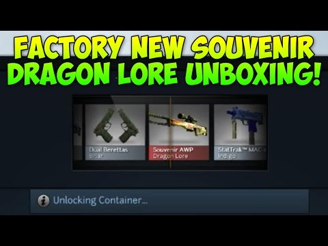 Souvenir AWP Dragon Lore Factory New Unboxing! (CS GO Skins)