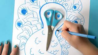 Funny drawing tutorial: How to draw a peacock around a scissor with STABILO Pen 68