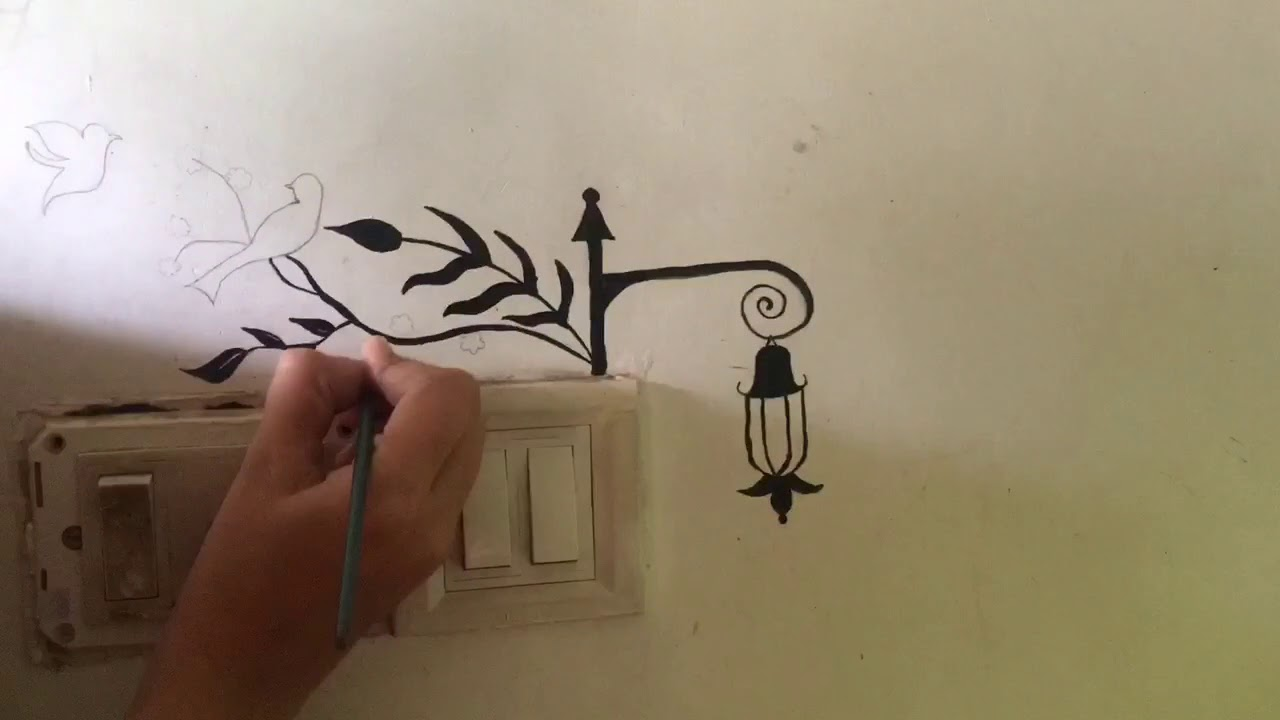 Wall Painting On Switch Board Tree Birds And Lamp Step By Step