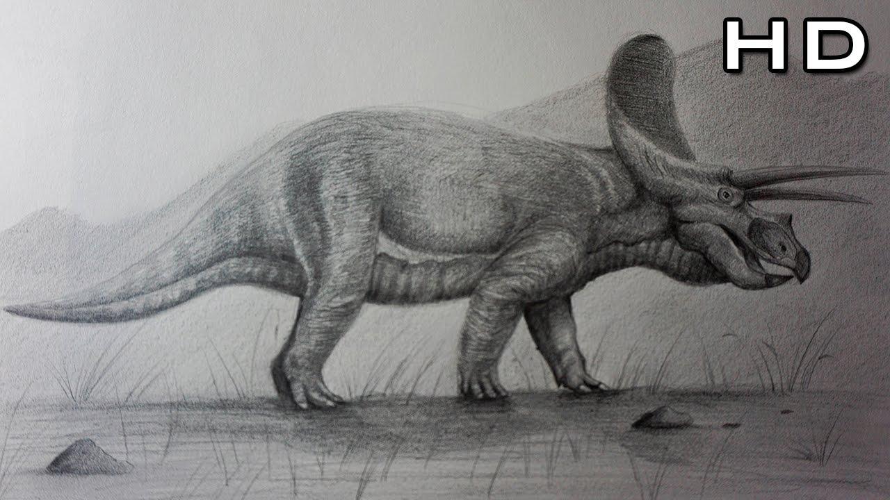 Cómo Dibujar Un Triceratops Realista A Lápiz Paso A Paso