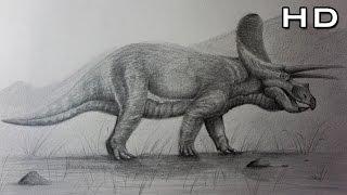 Hoy les enseño a cómo dibujar un Triceratops Paso a Paso de una man...