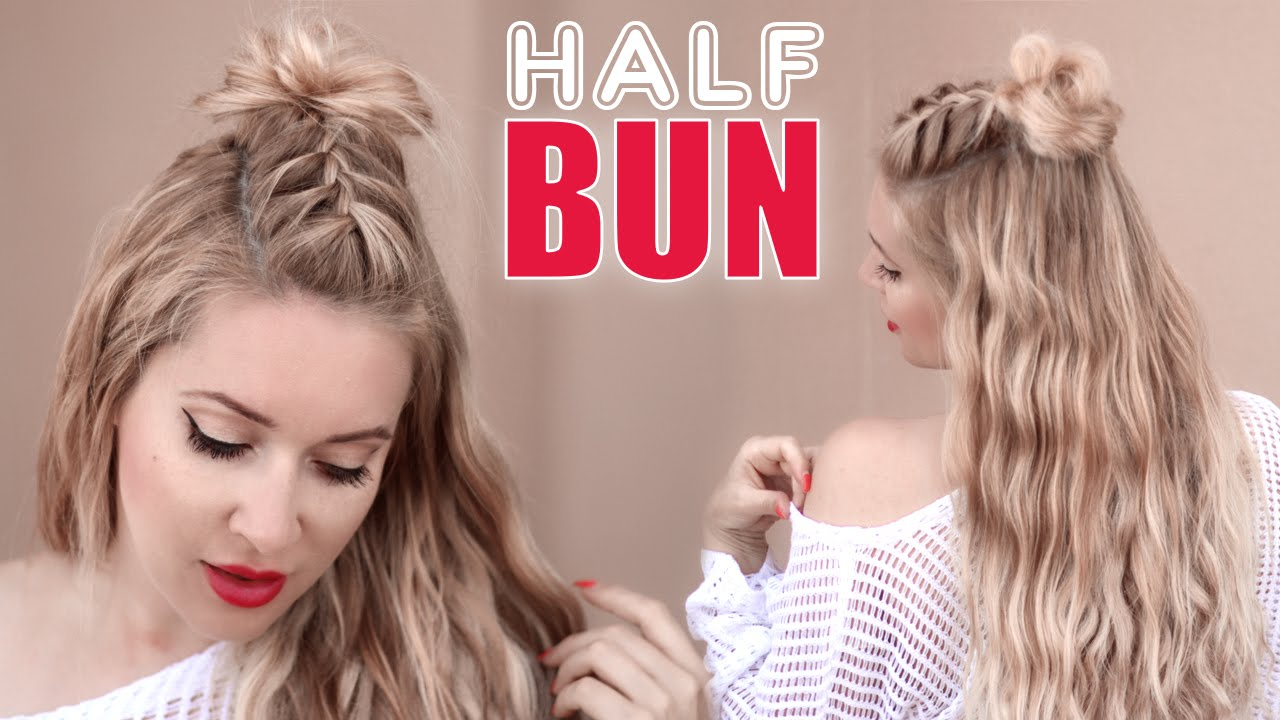 Half Bun Half Down Hairstyle œ� Braided Back To School Hair Tutorial For  Short, Medium And Long Hair  Youtube
