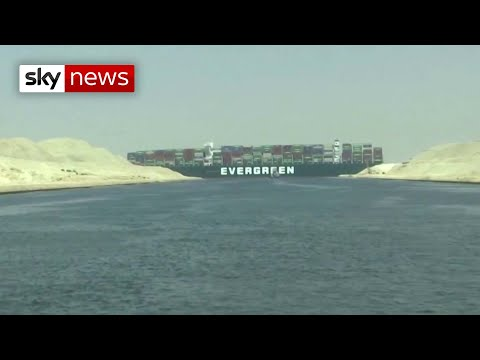 Stuck at sea: Mega cargo ship wedged in Suez Canal causes traffic jam