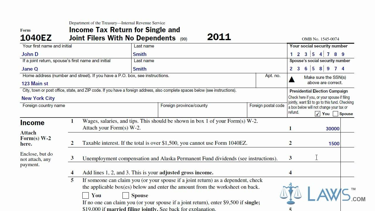 Learn How To Fill The Form 1040ez Income Tax Return For Single And
