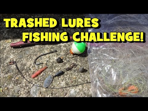 TRASHED LURES FISHING CHALLENGE! Pond Edition!