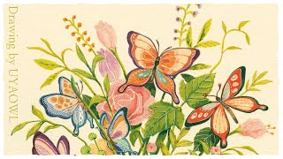 여덟 마리의 나비와 화병 그리기