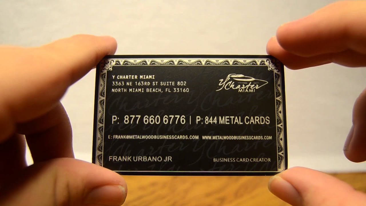 YCharter Black Metal Business Cards