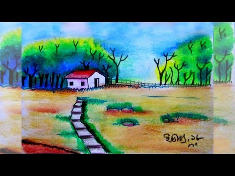 Easy Kids drawing tutorial- village scenery art| landscape drawing| own native land| nature view