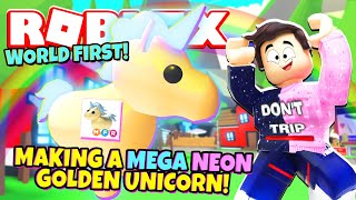 Making The First Ever Mega Neon Golden Unicorn In Adopt Me New Adopt Me Mega Neons Update Roblox