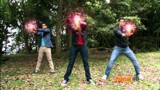 Power Rangers Megaforce - Red, Blue, and Black Rangers Morph (HD)