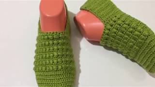 FISTIKLI PATİK / HOW TO EASY CROCHET AN BOOTİES KNİTTİNG/ вязаные тапочки спицами / बुनना
