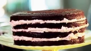 Chocolate Ganache Cake W/strawberry Frosting Recipe || Kin Eats