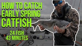 How To Catch Early Spring Catfish (CRAZY Action)
