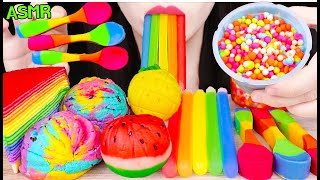 ASMR RAINBOW FOODS *UNICORN COOKIE, NIK-L-NIP WAX STICKS, EDIBLE SPOON 유니콘 쿠키, 먹는 숟가락 먹방 EATING