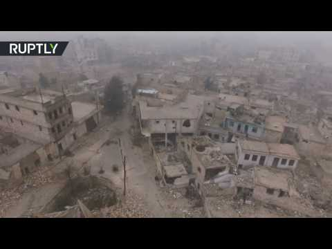 Drone footage captures devastation of east Aleppo