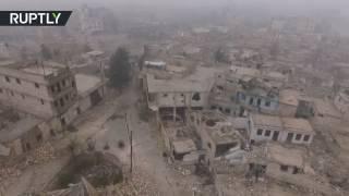 Drone footage captures devastation of east Aleppo