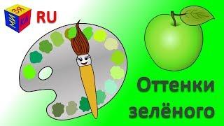 Учим цвета. Волшебная кисточка и оттенки зелёного. Мультик - раскраска для детей малышей