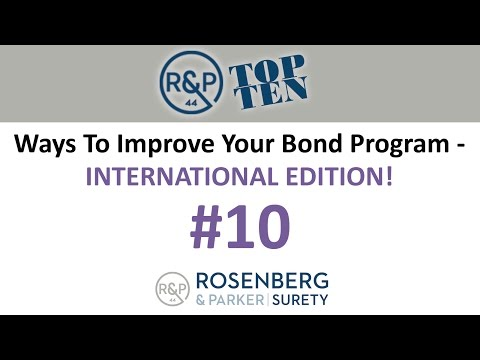 #10 - Top 10 Ways to Improve your Bond Program - International Edition