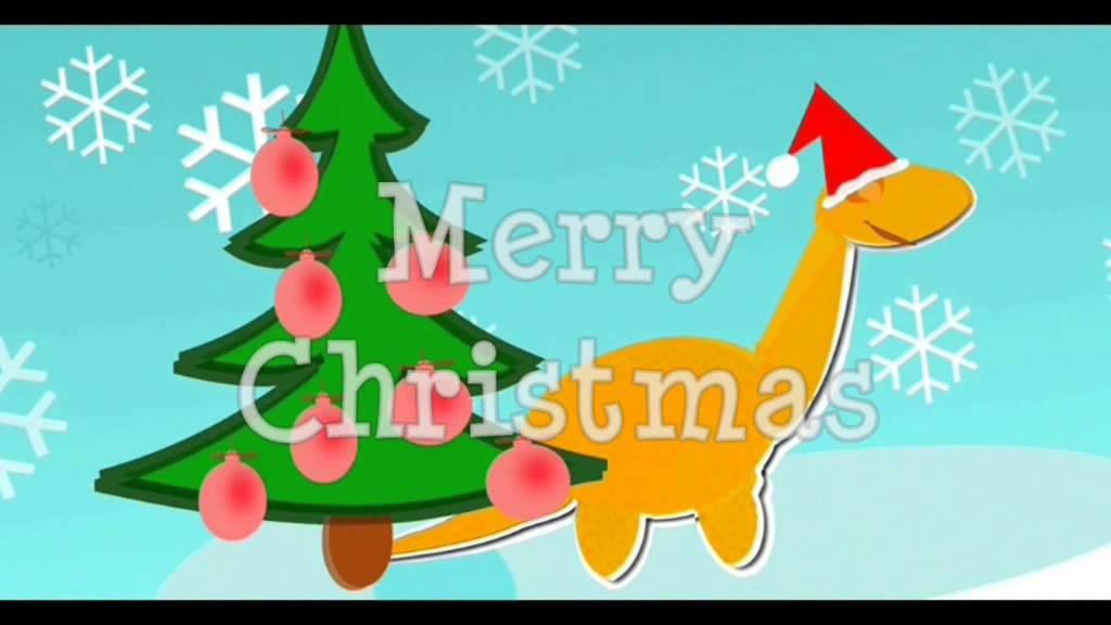 Dinosaur Christmas.Cute Cartoon Dinosaur Merry Christmas