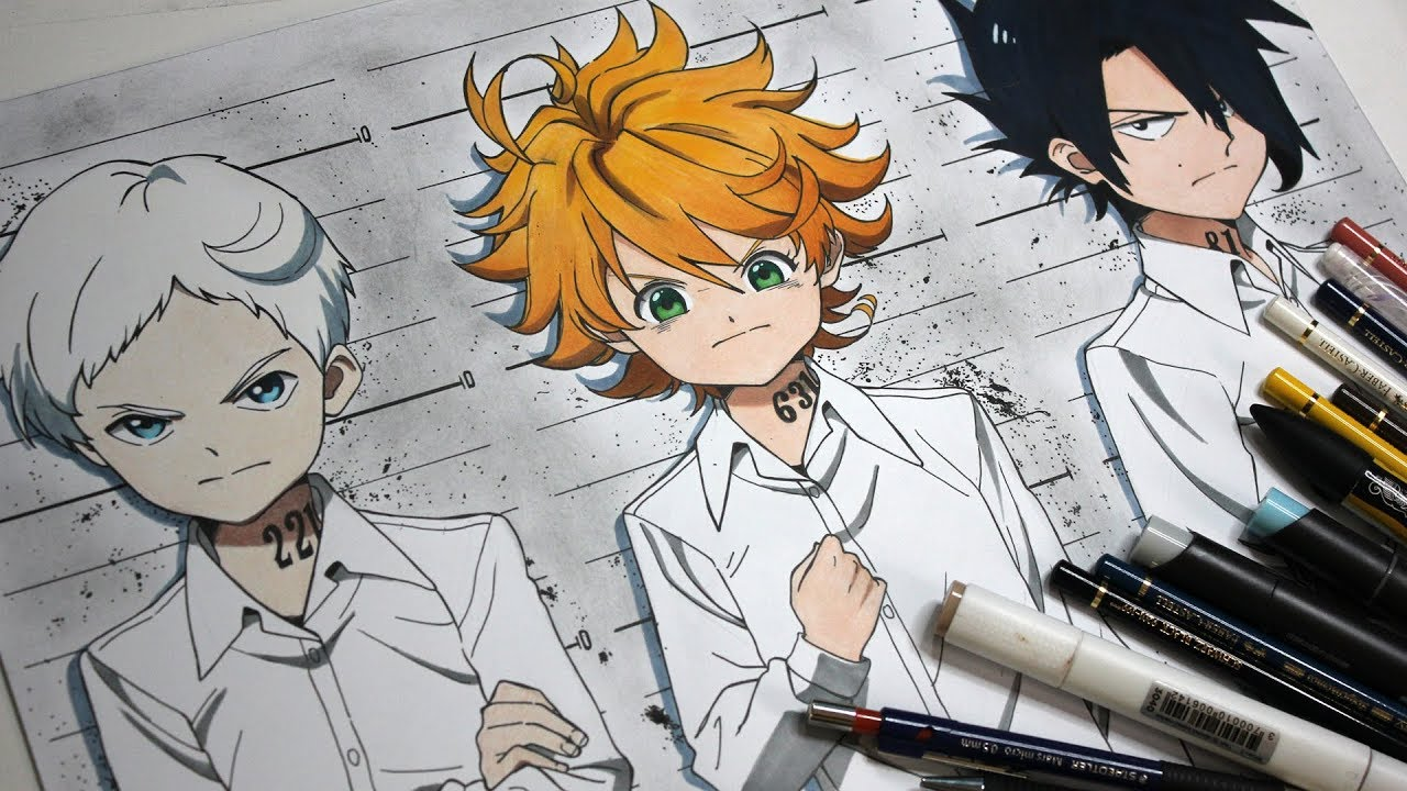 Drawing Norman Emma And Ray From The Promised Neverland