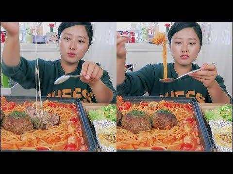 Cheesy Meatball Spaghetti Mukbang! ft. Ground Beef
