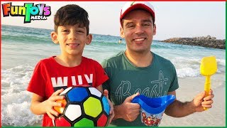 Jason and Brother Fun Day on the Beach! Playing with Sand and Kids Toys
