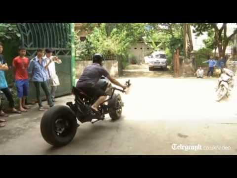 Batman fan builds his own Batpod motorbike in Vietnam