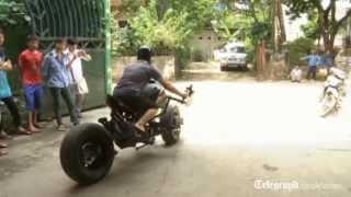 Batman fan builds his own Batpod motorbike in Vietnam