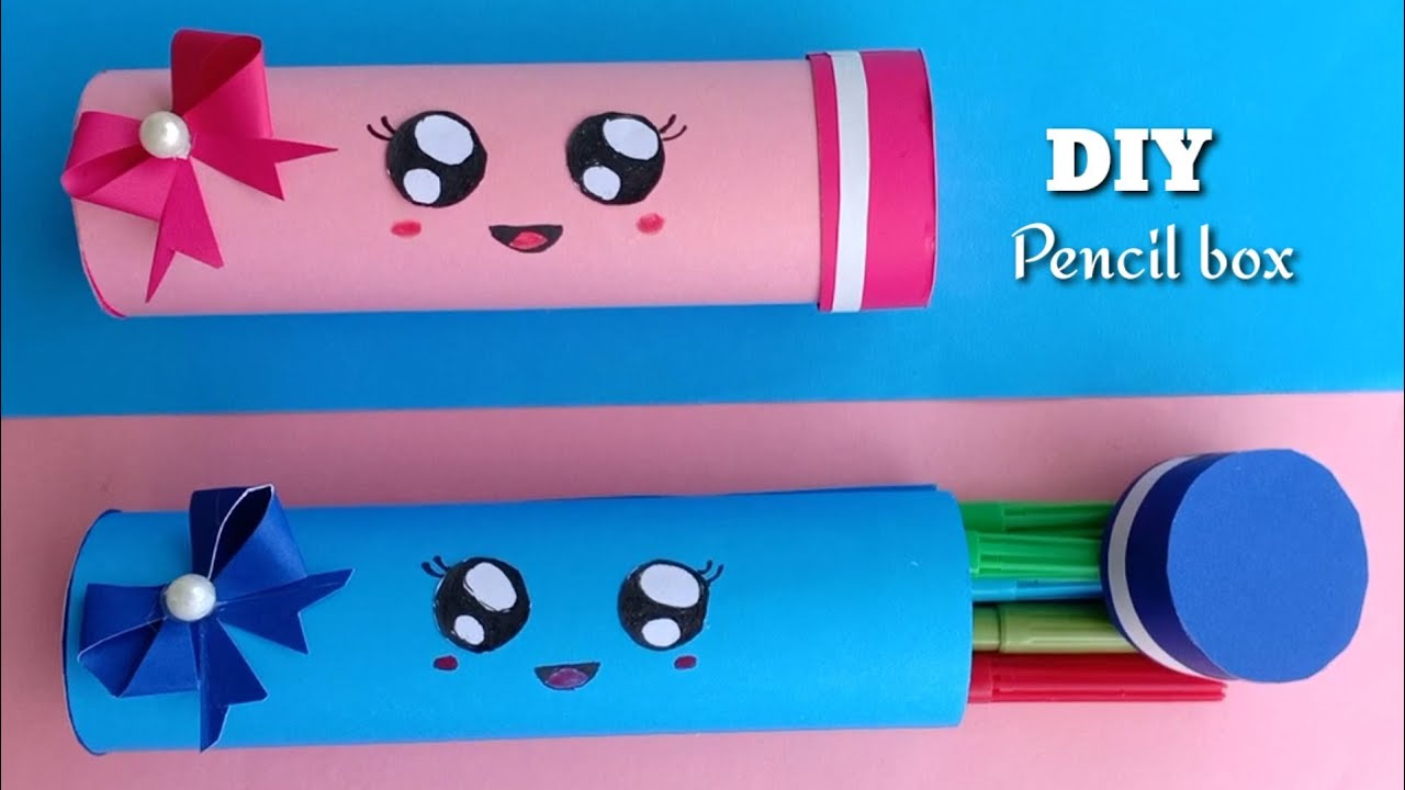 How to make a paper pencil box | Paper pencil box /Easy Origami box tutorial / Origami/School craft