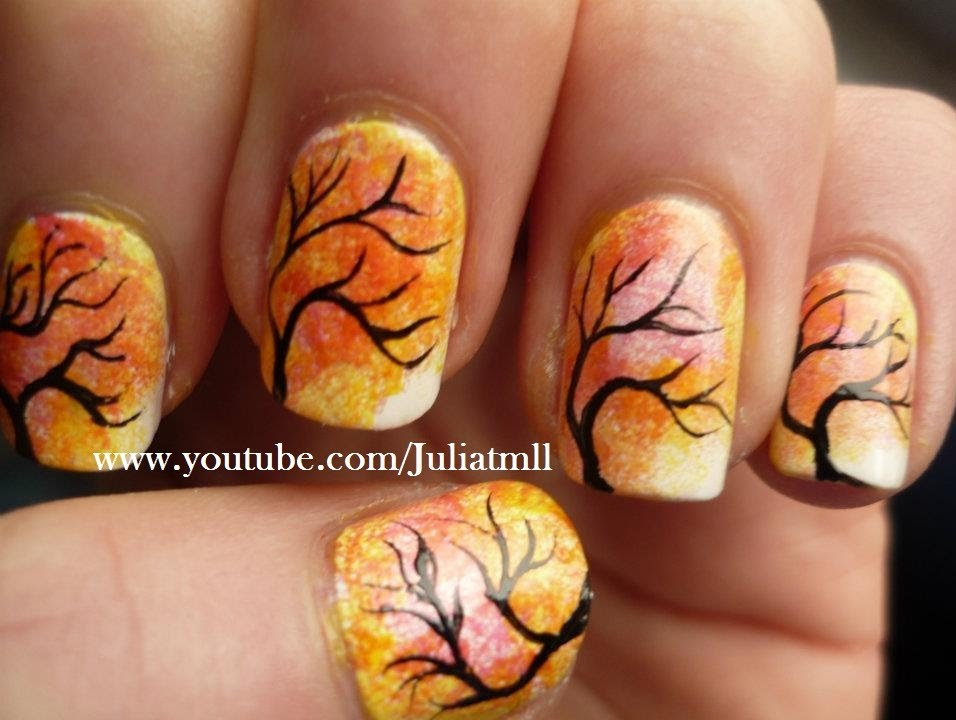 Japanese Tree Nail Art Autumn Fall Tutorial - YouTube