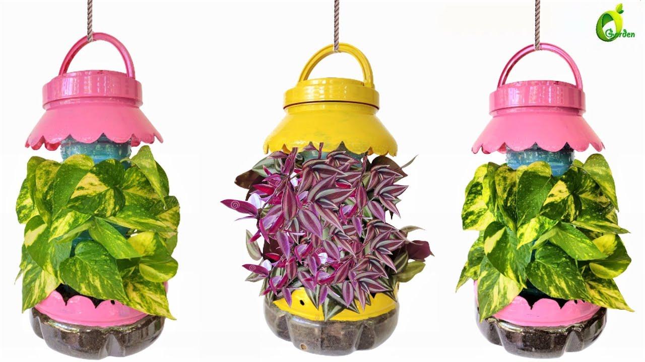 How To Grow Hanging Plants In Plastic Bottles/Plastic Bottle Into Flower Pot/Planter /ORGANIC GARDEN