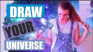 как нарисовать космос красками видео