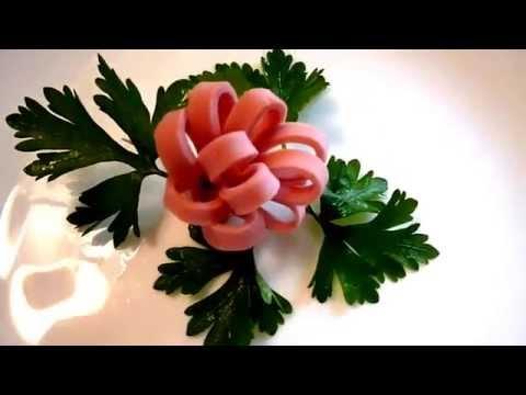 Цветы из колбасы! Flowers Of The Sausage! Украшения из колбасы! Decoration Of Sausage!