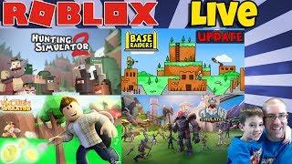 🔴 Roblox LIVE 🐻🔫 Hunting Sim, Base Raiders, Vacuum Sim, Giant Sim & More!