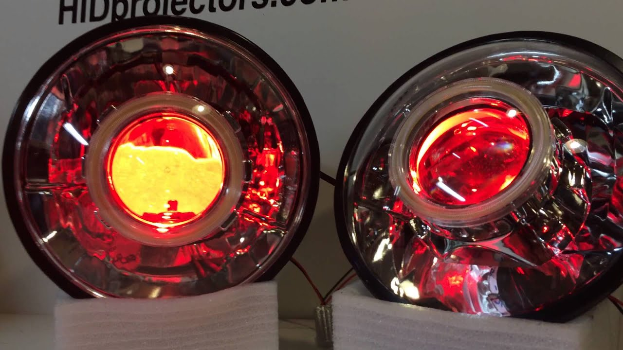 1956 56 Chevy Hid Projector Headlights Angel Eyes And