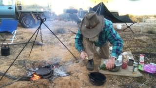 Cooking A Damper For Breakfast In The Camp Oven
