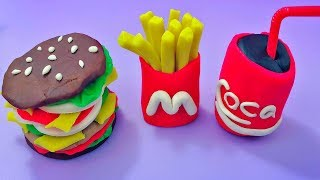 Play Doh McDonald's Hamburger French Fries Coca Cola Can Restaurant Playset and Learn Color For Kids