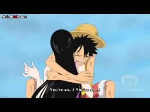 Luffy hugs Boa Hancock