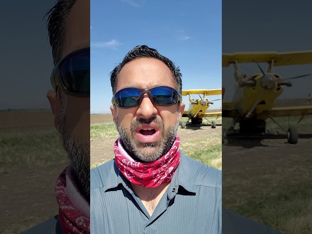 Cropduster waiting to take off from a dirt airstrip! - Imran The Rice Daddy - Rice Farming in CA.