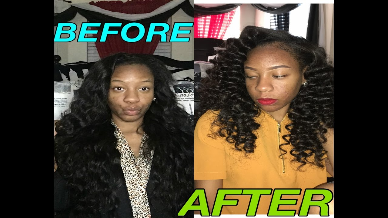 Heatless Wand Curls On Weave Using Flexi Rods Ft Jadore Glam